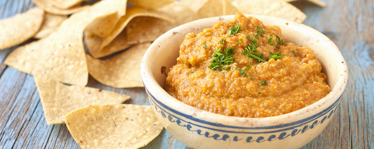 Roasted pepper hummus in a bowl